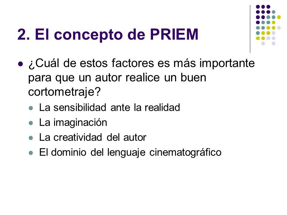2. El concepto de PRIEM ¿Cuál de estos factores es más importante para que un autor realice un buen cortometraje