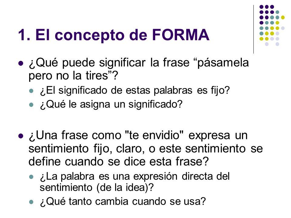 1. El concepto de FORMA ¿Qué puede significar la frase pásamela pero no la tires ¿El significado de estas palabras es fijo
