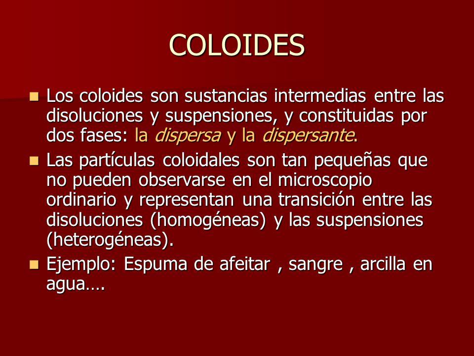 COLOIDES Los coloides son sustancias intermedias entre las disoluciones y suspensiones, y constituidas por dos fases: la dispersa y la dispersante.