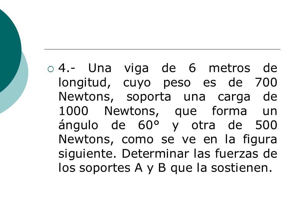 4.- Una viga de 6 metros de longitud, cuyo peso es de 700 Newtons, soporta una carga de 1000 Newtons, que forma un ángulo de 60° y otra de 500 Newtons, como se ve en la figura siguiente.