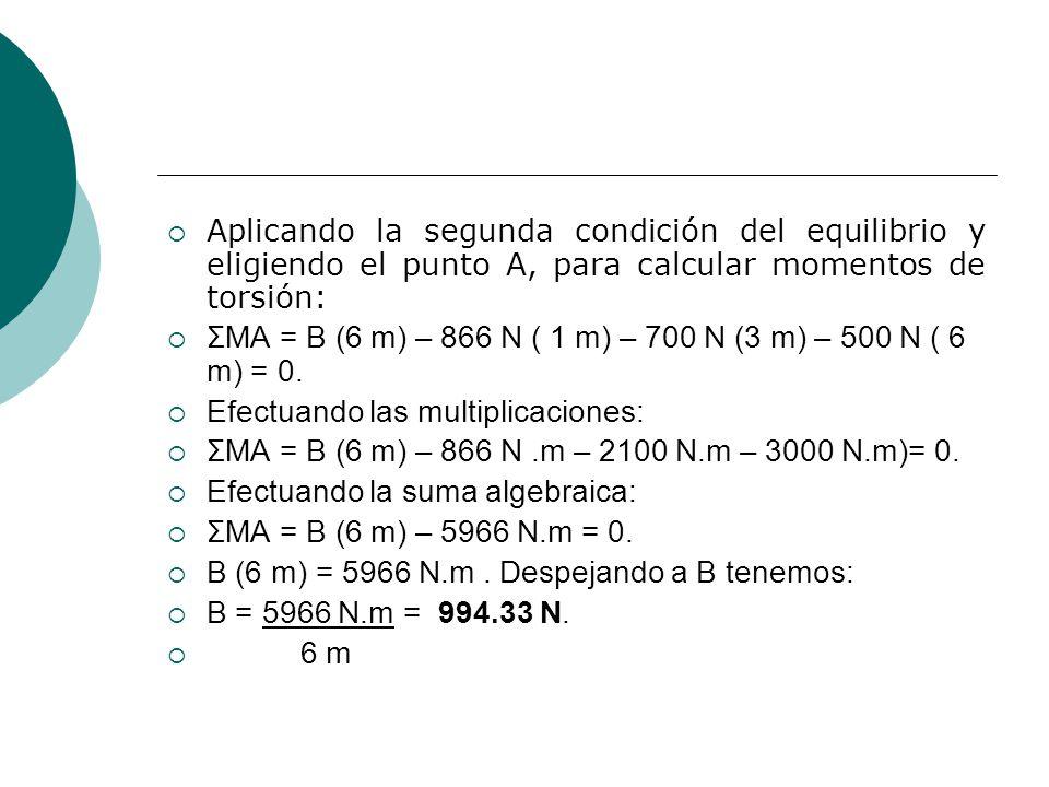 Aplicando la segunda condición del equilibrio y eligiendo el punto A, para calcular momentos de torsión: