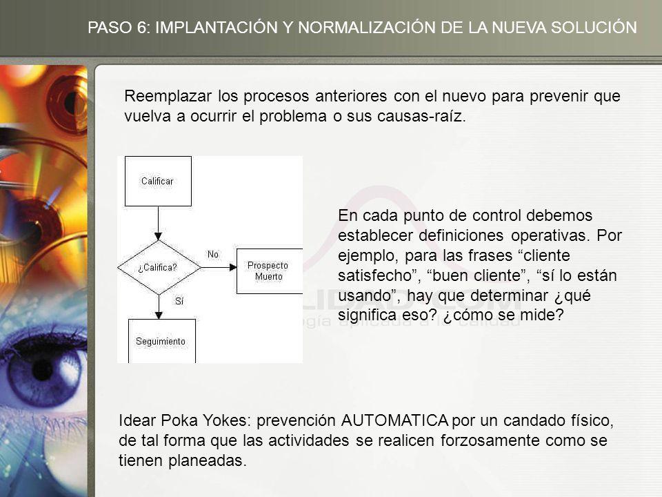 PASO 6: IMPLANTACIÓN Y NORMALIZACIÓN DE LA NUEVA SOLUCIÓN