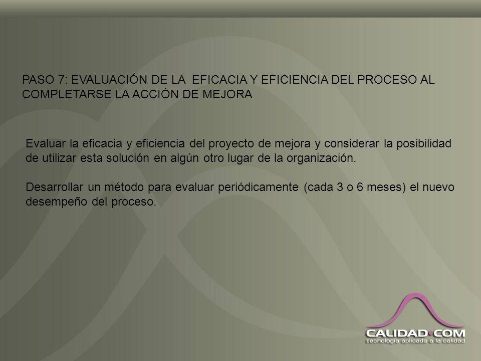 PASO 7: EVALUACIÓN DE LA EFICACIA Y EFICIENCIA DEL PROCESO AL COMPLETARSE LA ACCIÓN DE MEJORA
