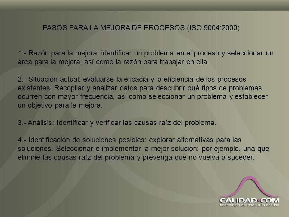 PASOS PARA LA MEJORA DE PROCESOS (ISO 9004:2000)