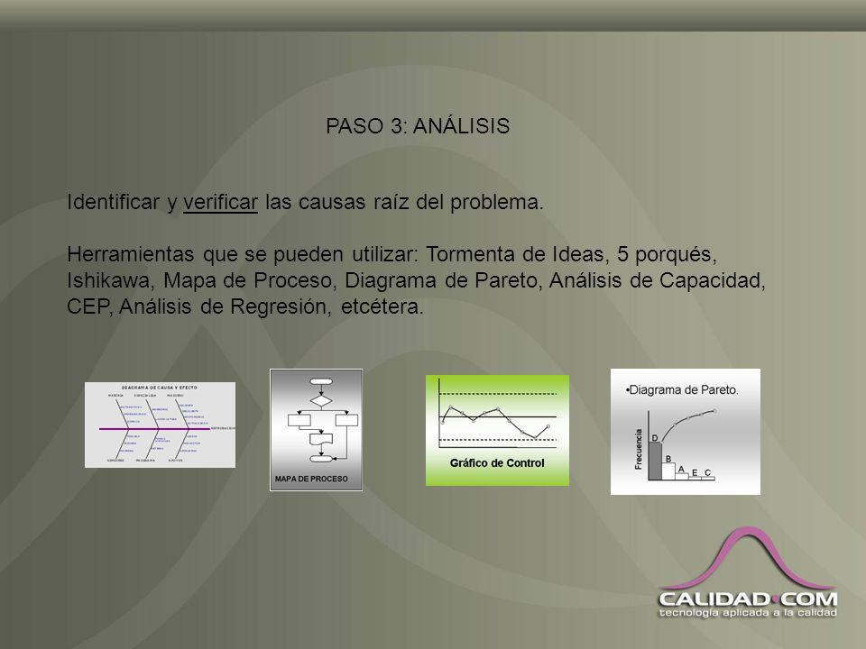 PASO 3: ANÁLISIS Identificar y verificar las causas raíz del problema.