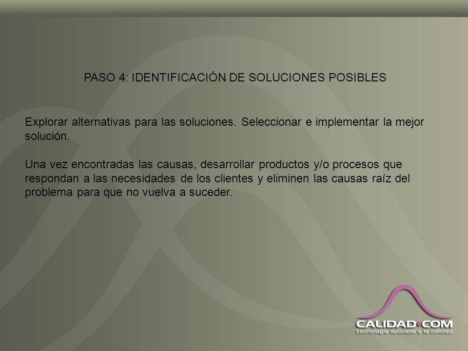 PASO 4: IDENTIFICACIÓN DE SOLUCIONES POSIBLES