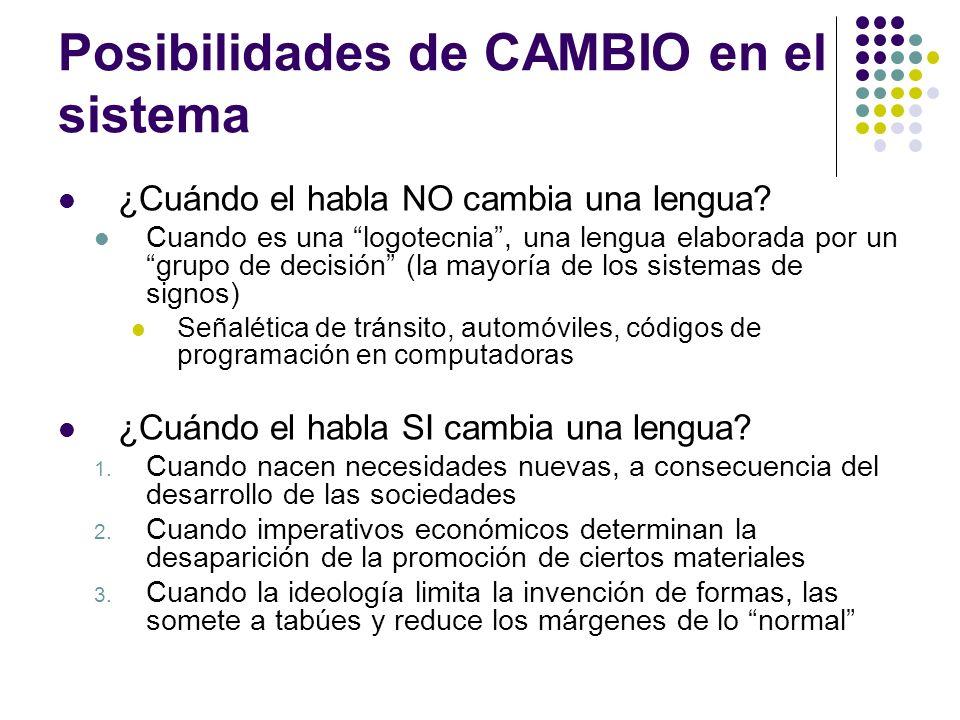 Posibilidades de CAMBIO en el sistema