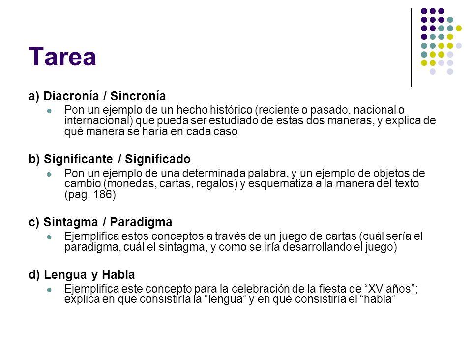 Tarea a) Diacronía / Sincronía b) Significante / Significado