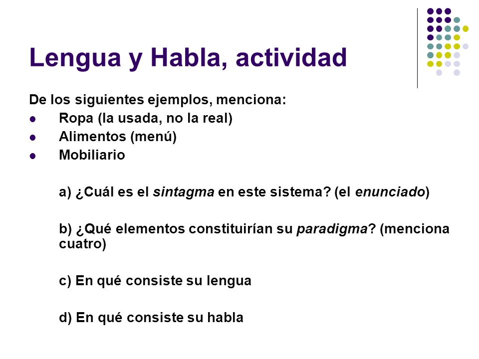 Lengua y Habla, actividad