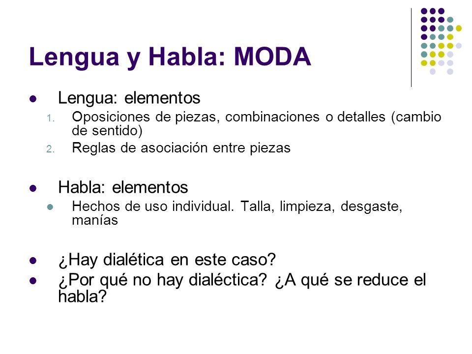 Lengua y Habla: MODA Lengua: elementos Habla: elementos
