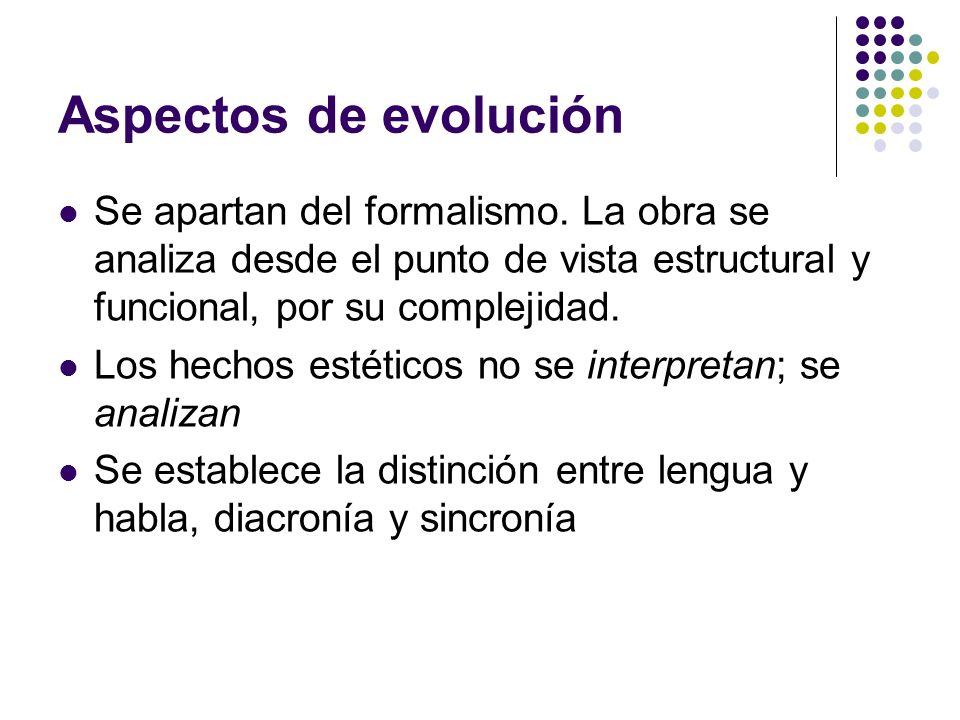 Aspectos de evoluciónSe apartan del formalismo. La obra se analiza desde el punto de vista estructural y funcional, por su complejidad.