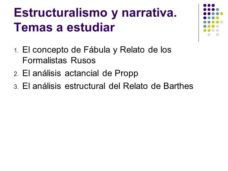 Estructuralismo y narrativa. Temas a estudiar