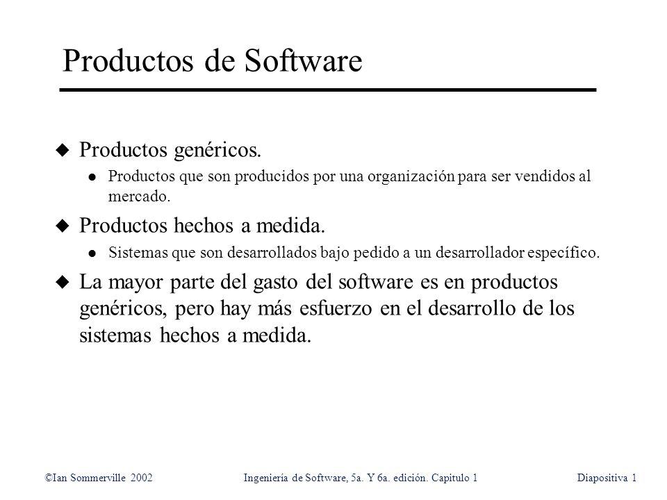 Productos de Software Productos genéricos. Productos hechos a medida.
