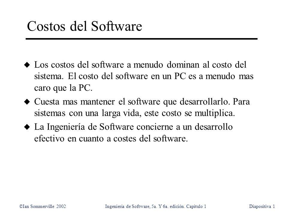 Costos del Software Los costos del software a menudo dominan al costo del sistema. El costo del software en un PC es a menudo mas caro que la PC.