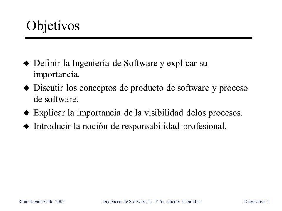 Objetivos Definir la Ingeniería de Software y explicar su importancia.