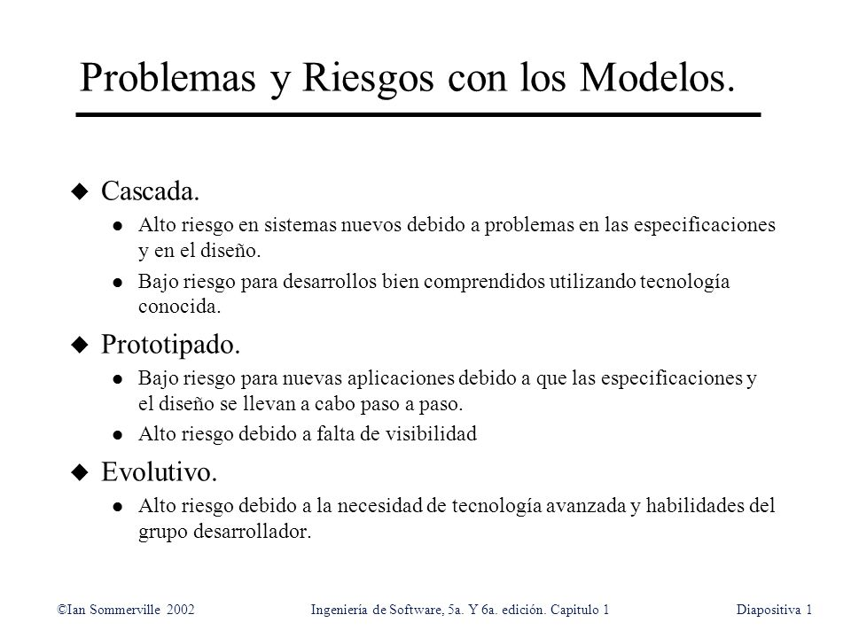 Problemas y Riesgos con los Modelos.