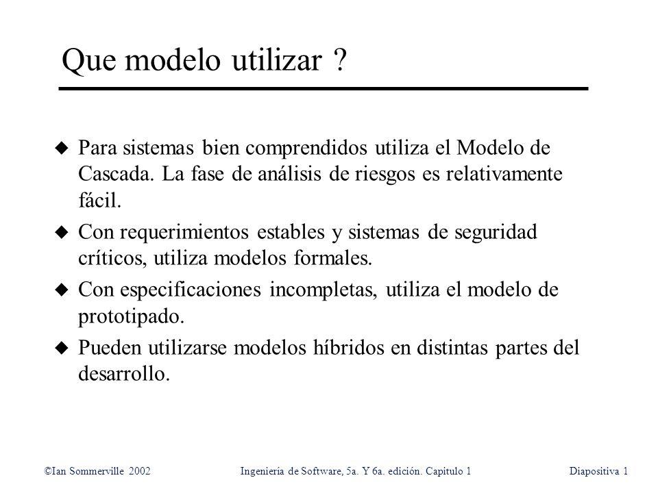 Que modelo utilizar Para sistemas bien comprendidos utiliza el Modelo de Cascada. La fase de análisis de riesgos es relativamente fácil.