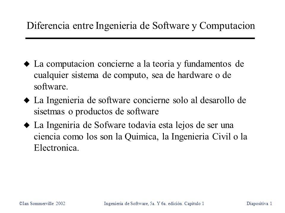Diferencia entre Ingenieria de Software y Computacion