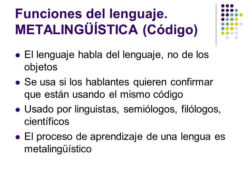 Funciones del lenguaje. METALINGÜÍSTICA (Código)