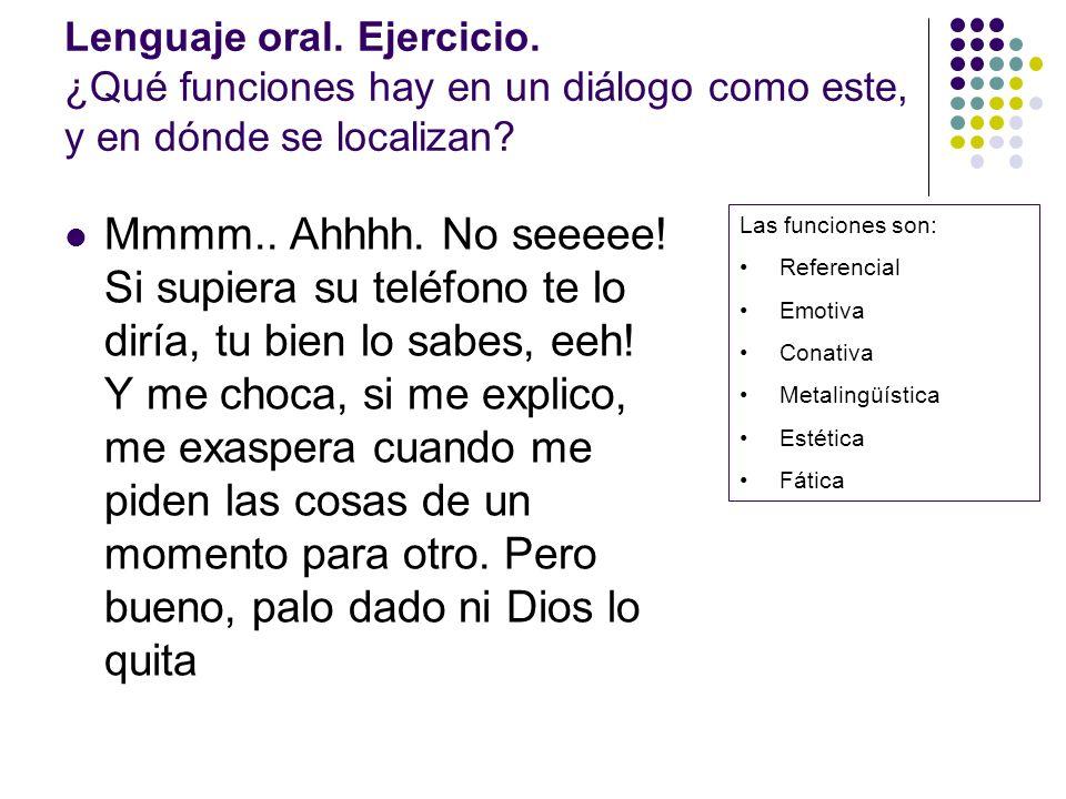 Lenguaje oral. Ejercicio