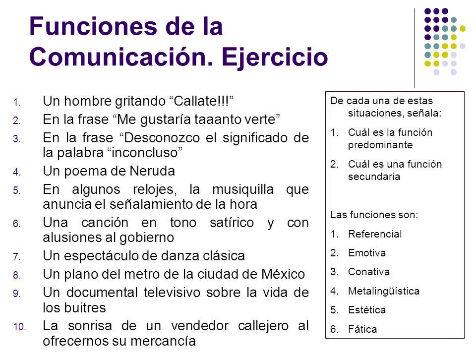 Funciones de la Comunicación. Ejercicio