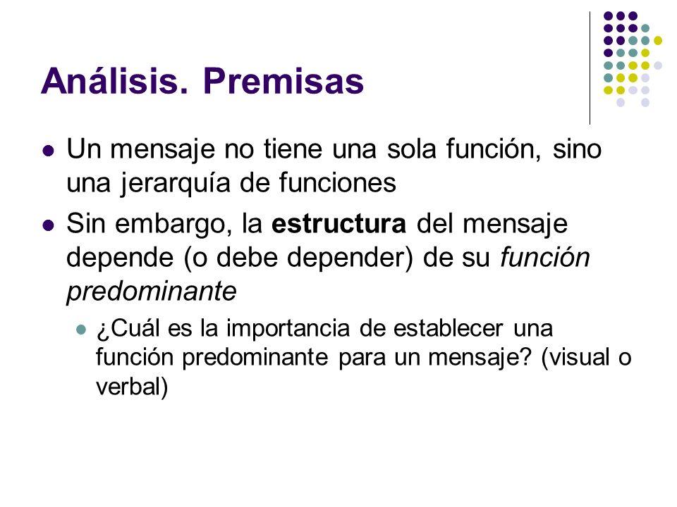 Análisis. PremisasUn mensaje no tiene una sola función, sino una jerarquía de funciones.
