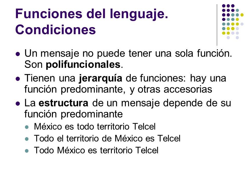 Funciones del lenguaje. Condiciones