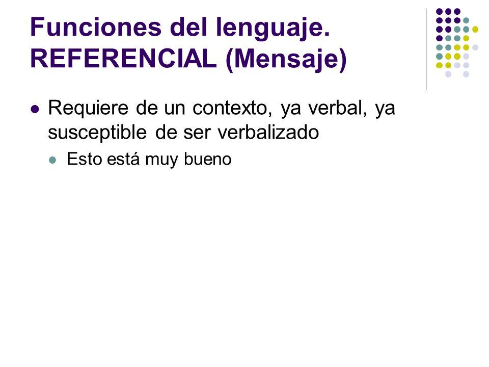 Funciones del lenguaje. REFERENCIAL (Mensaje)