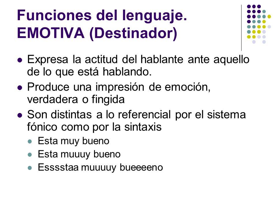 Funciones del lenguaje. EMOTIVA (Destinador)