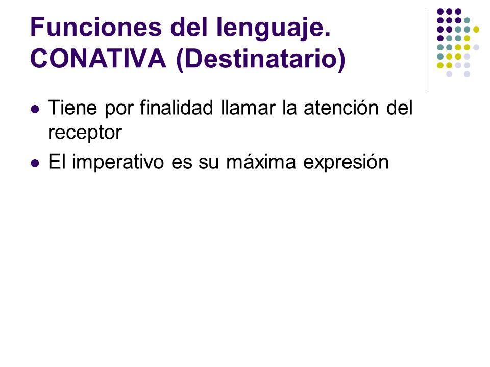 Funciones del lenguaje. CONATIVA (Destinatario)