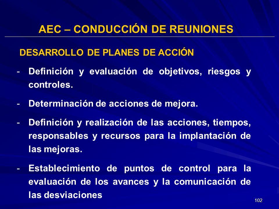 AEC – CONDUCCIÓN DE REUNIONES DESARROLLO DE PLANES DE ACCIÓN