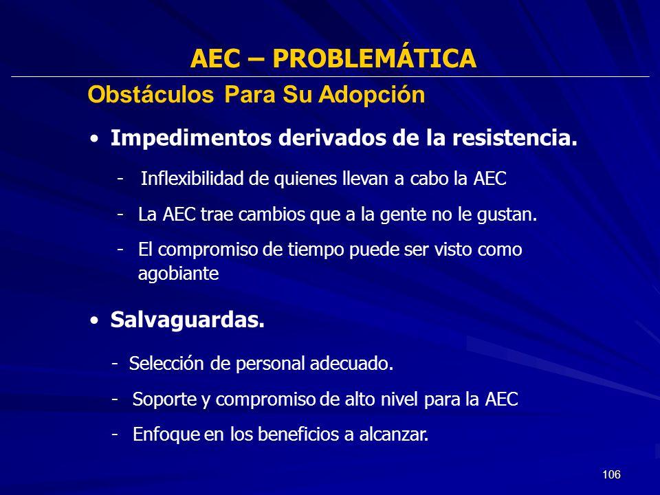 AEC – PROBLEMÁTICA Obstáculos Para Su Adopción