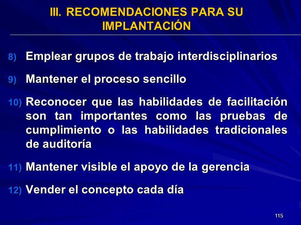 III. RECOMENDACIONES PARA SU IMPLANTACIÓN
