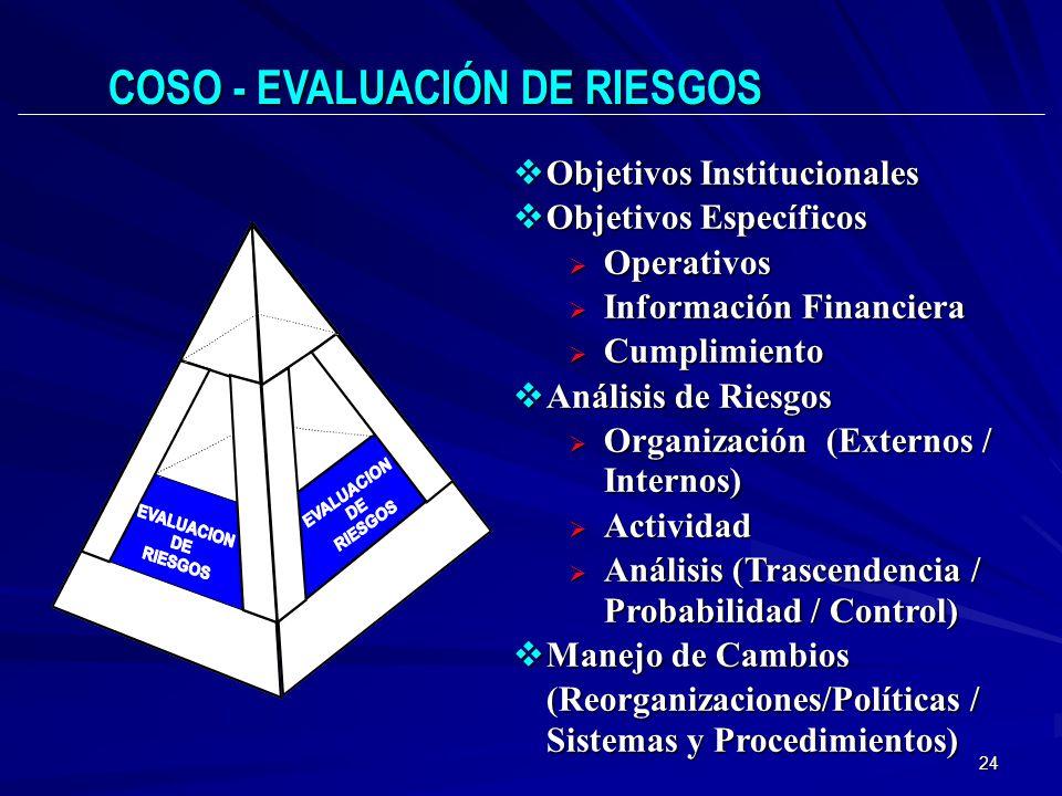 COSO - EVALUACIÓN DE RIESGOS