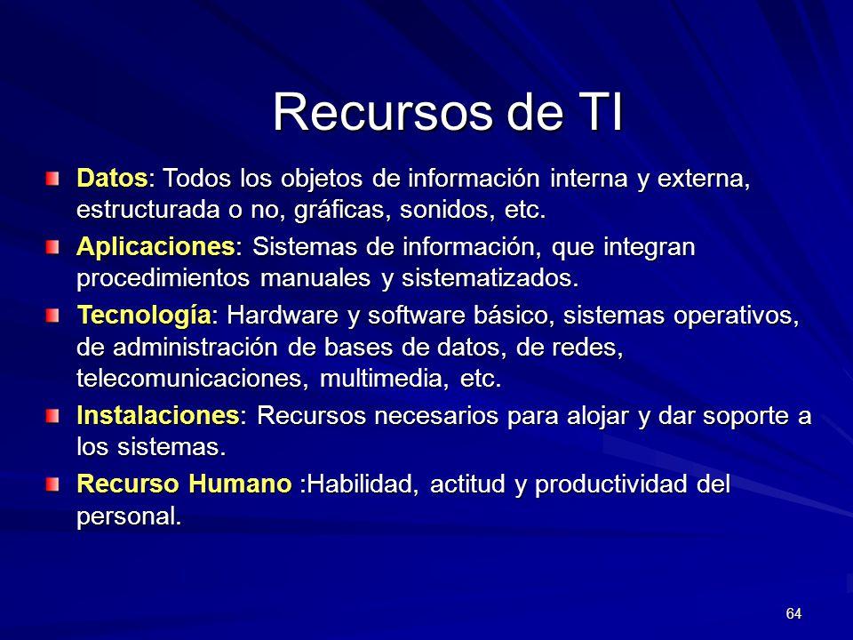 Recursos de TI Datos: Todos los objetos de información interna y externa, estructurada o no, gráficas, sonidos, etc.