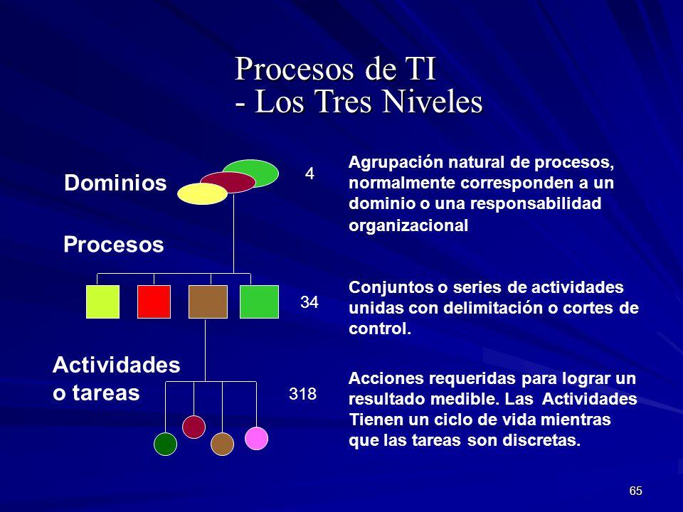 Procesos de TI - Los Tres Niveles Dominios Actividades o tareas