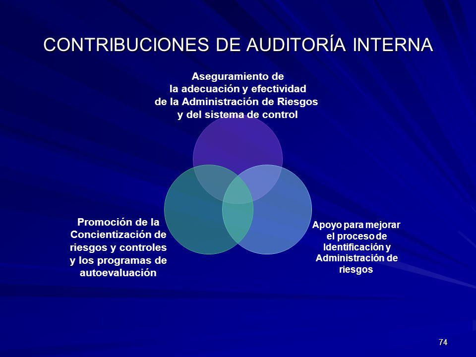 CONTRIBUCIONES DE AUDITORÍA INTERNA