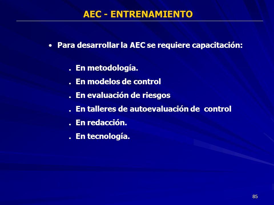 AEC - ENTRENAMIENTO Para desarrollar la AEC se requiere capacitación: