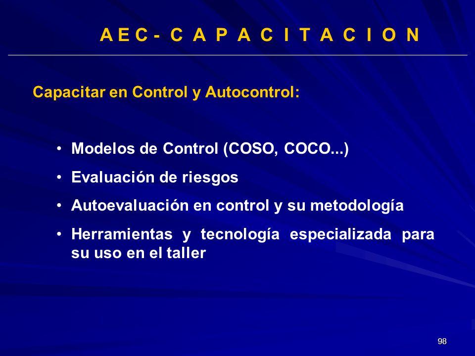 A E C - C A P A C I T A C I O N Capacitar en Control y Autocontrol: