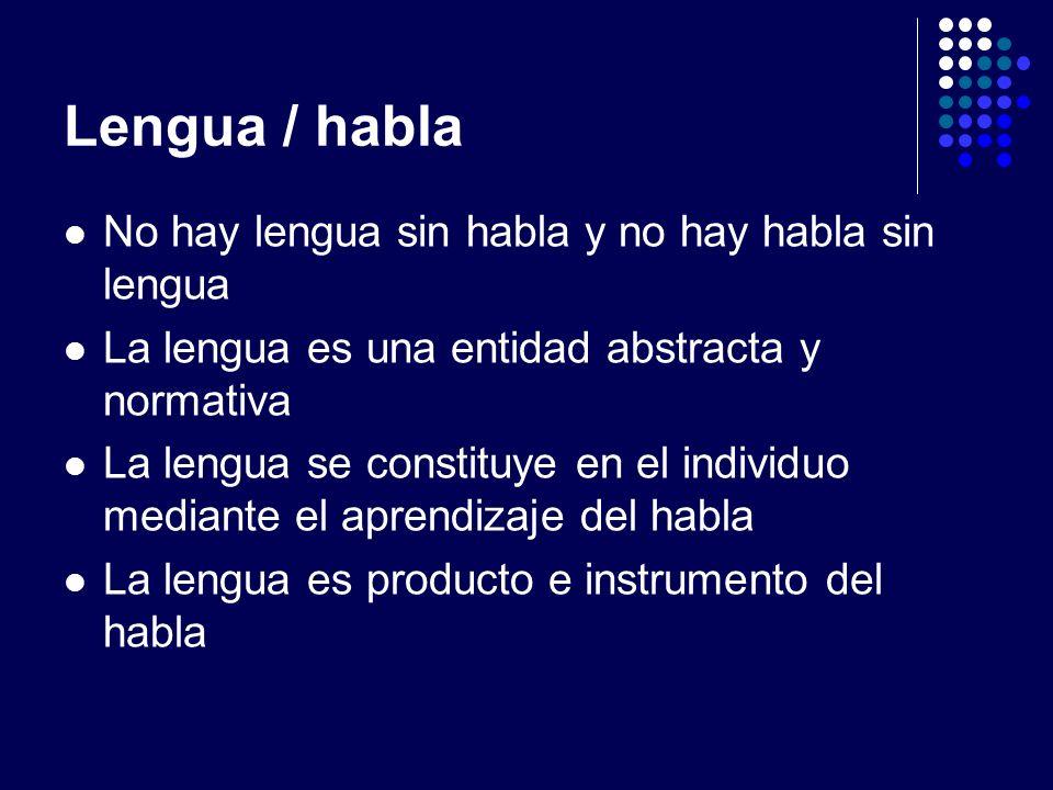 Lengua / habla No hay lengua sin habla y no hay habla sin lengua