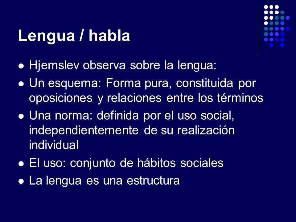 Lengua / habla Hjemslev observa sobre la lengua: