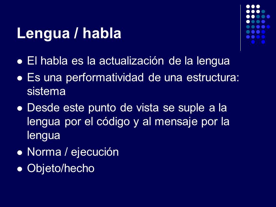 Lengua / habla El habla es la actualización de la lengua