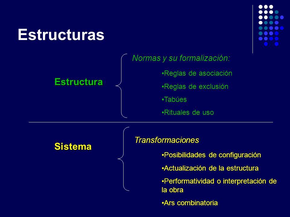 Estructuras Estructura Sistema Normas y su formalización: