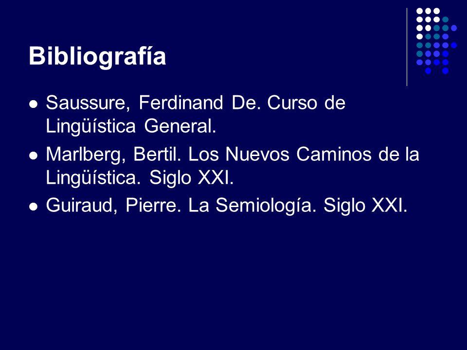 Bibliografía Saussure, Ferdinand De. Curso de Lingüística General.