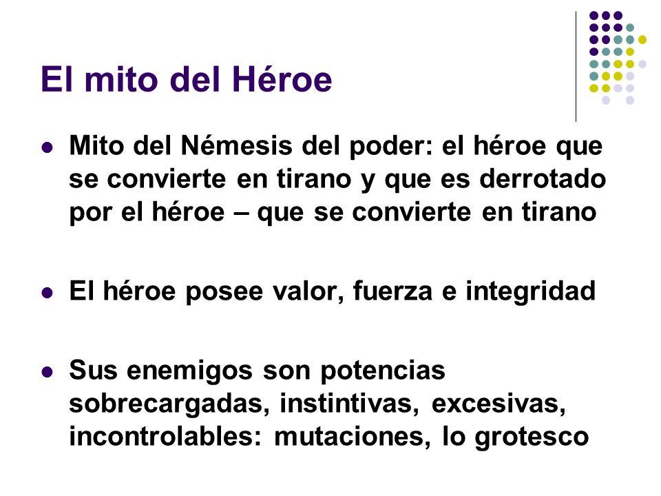 El mito del HéroeMito del Némesis del poder: el héroe que se convierte en tirano y que es derrotado por el héroe – que se convierte en tirano.