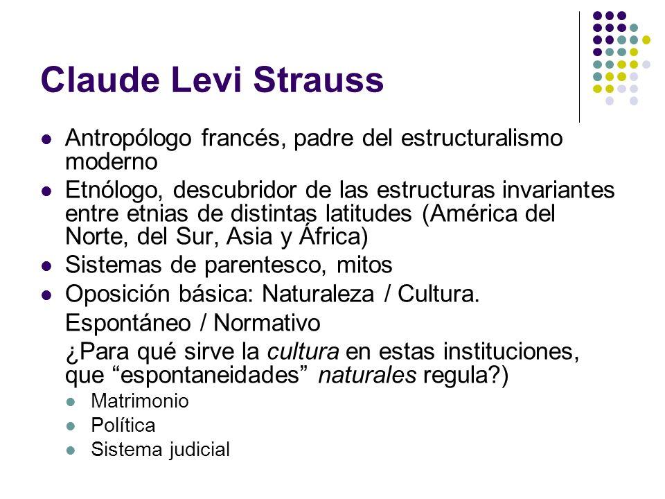 Claude Levi Strauss Antropólogo francés, padre del estructuralismo moderno.