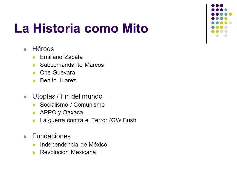 La Historia como Mito Héroes Utopías / Fin del mundo Fundaciones