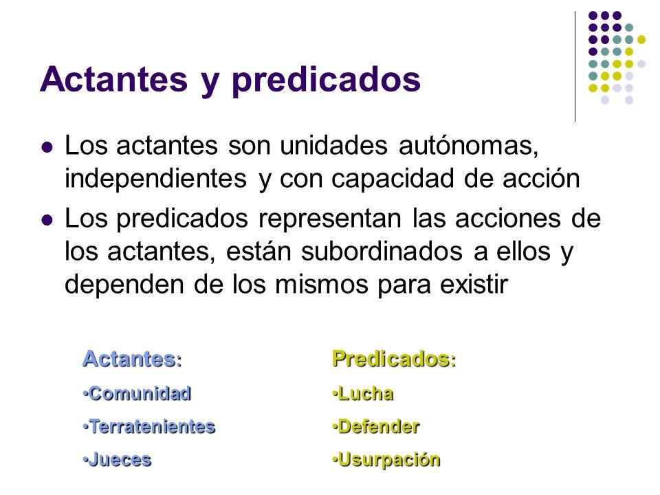 Actantes y predicadosLos actantes son unidades autónomas, independientes y con capacidad de acción.