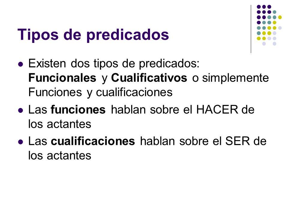 Tipos de predicadosExisten dos tipos de predicados: Funcionales y Cualificativos o simplemente Funciones y cualificaciones.