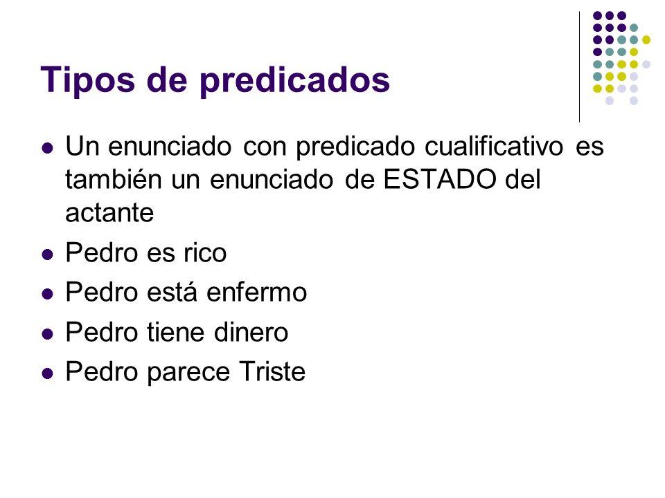 Tipos de predicadosUn enunciado con predicado cualificativo es también un enunciado de ESTADO del actante.